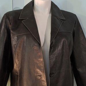 Mossimo Black Leather Car Coat size 20W